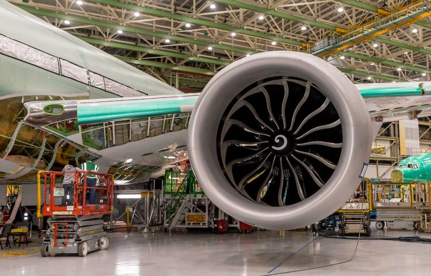 GE Aviation has also used 3D printing to produce aircraft parts, including in Boeing's 777x jet engine (pictured). Photo via Boeing.