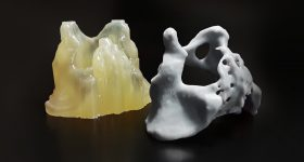 A 3D printed pelvis model post-processed using PostProcess' automated systems. Photo via PostProcess Technologies.