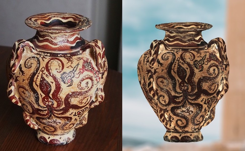Thor 3D's new scanner is capable of imaging items in precise detail, such as this vase. The picture on the left is the photo, and the scan is on the right. Picture via Thor3D.