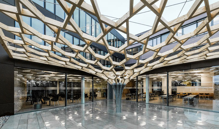 The ETH Zurich team worked with engineers from German company Basler & Hofmann to 3D print a 'future tree' for the company's headquarters. Photo via ETH Zurich.