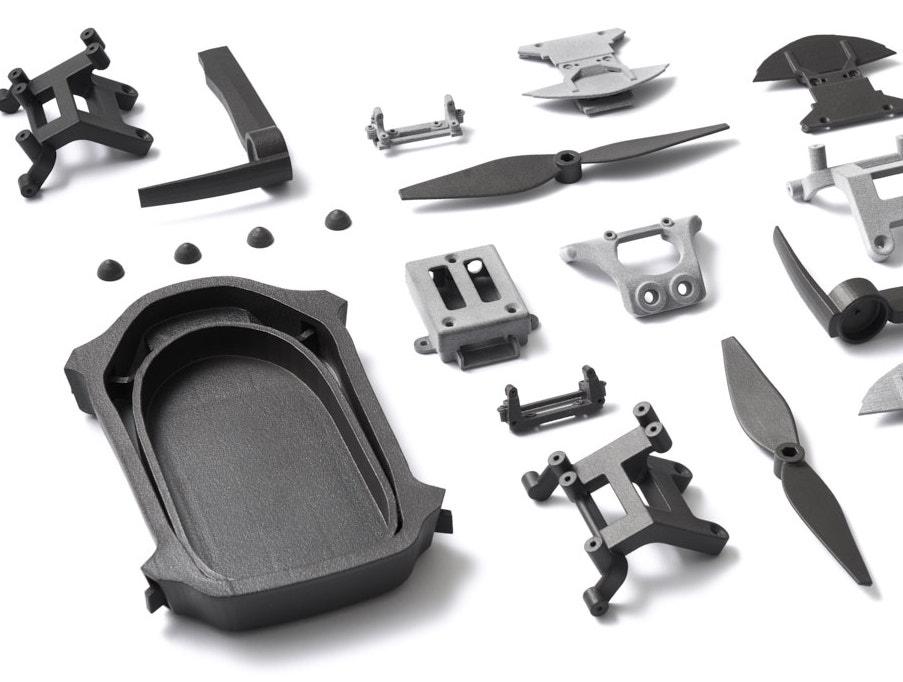 Featured image shows a range of parts that were 3D printed using Shapeways' existing online platform. Image via Shapeways.