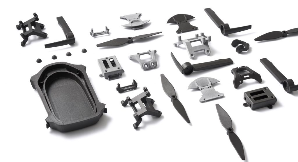 A range of components that were 3D printed using Shapeways' existing online platform. Image via Shapeways.
