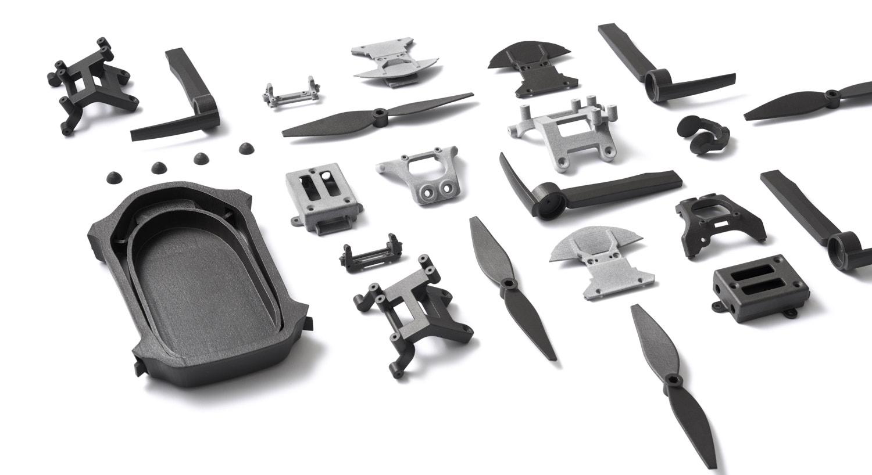 A range of components that were 3D printed using Shapeways' existing online platform. Image via Shapeways.