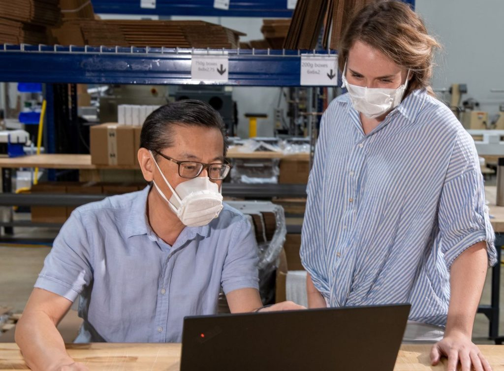 Essentium has now produced more than 60,000 face shields with replacement filters. Photo via Essentium.