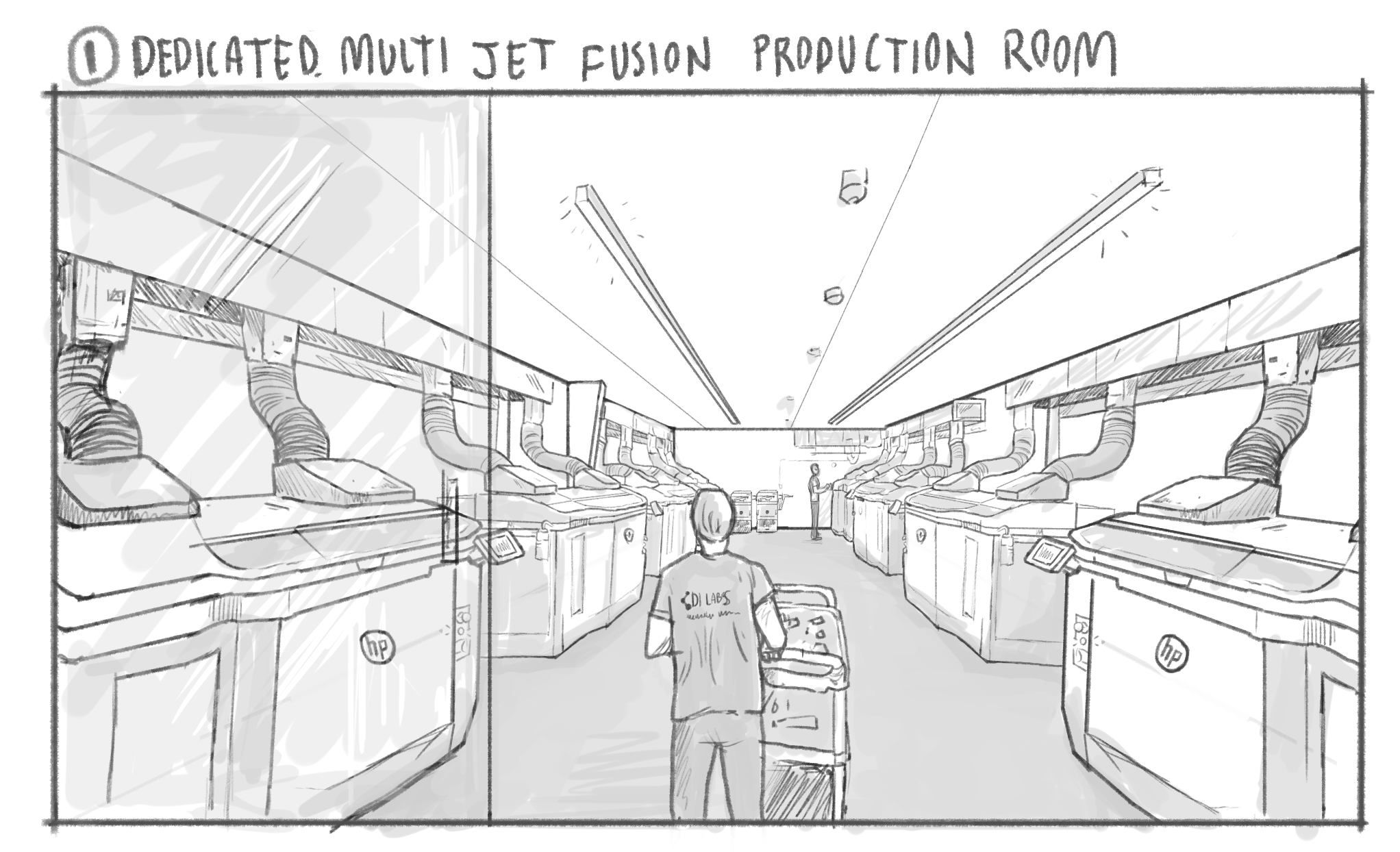 DI Labs' new facility will feature a room full of Multi-Jet Fusion (MJF) 3D printers. Image via DI Labs.
