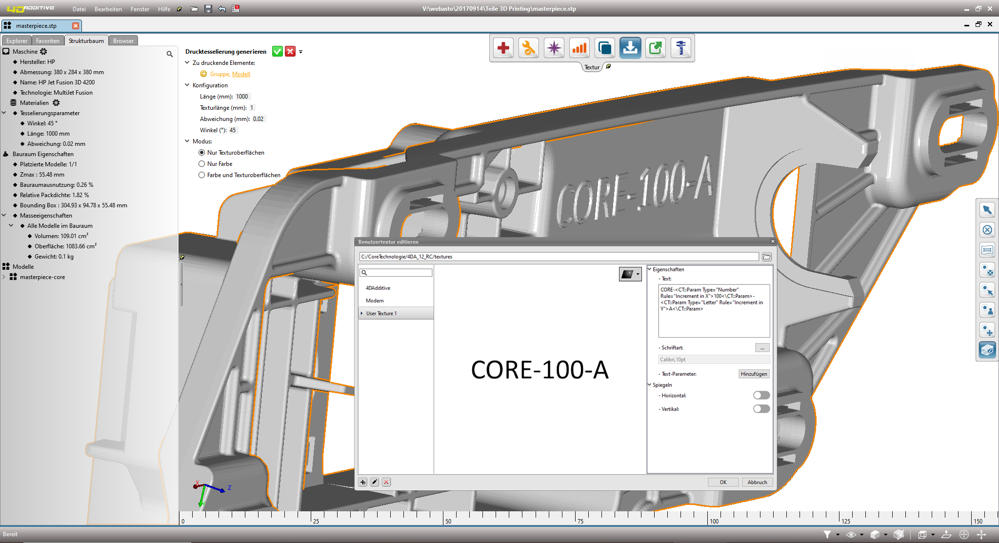 Core Technologie's updated software (pictured) allows users to label 3D printed parts. Image via Core Technologie.