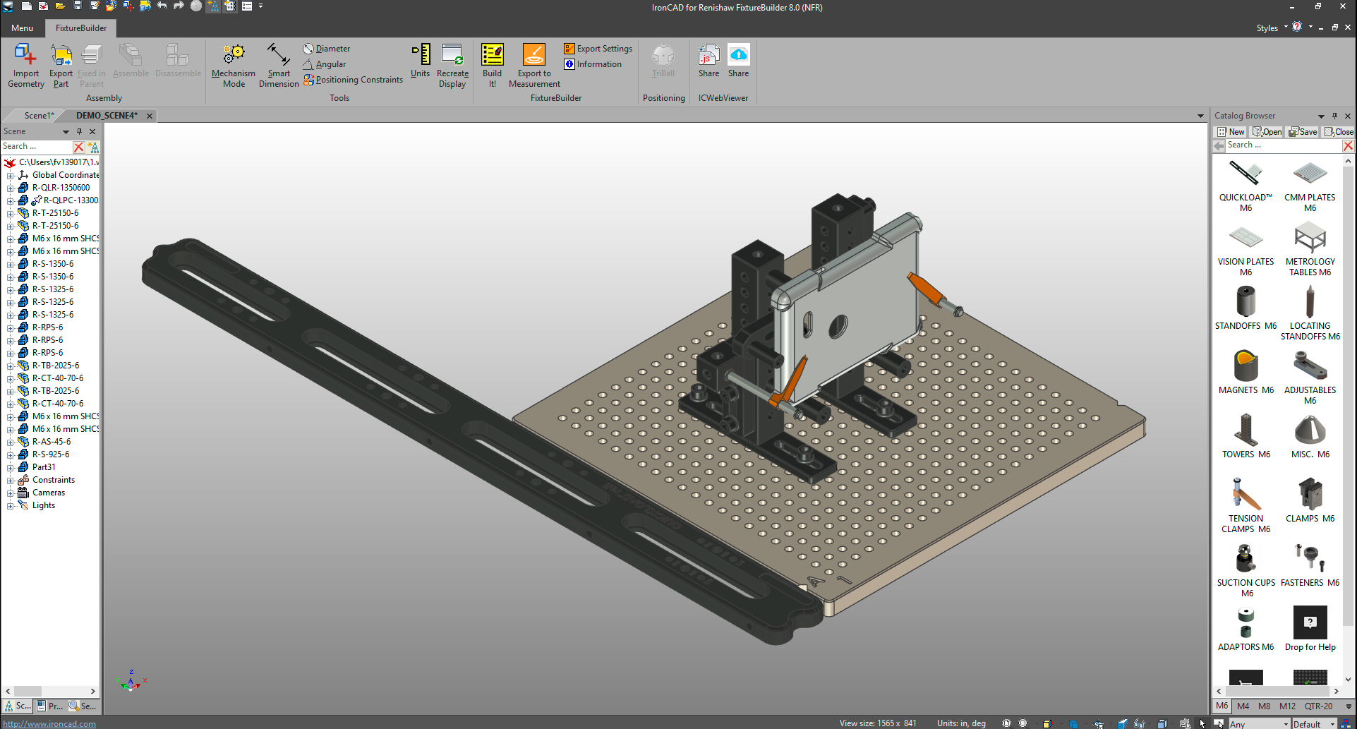 The QuickLoad rail in FixtureBuilder. Image via Renishaw.