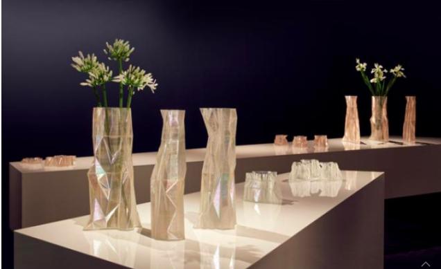 Swarovski's 3D printed vases (pictured) have been modelled on the Arctic's melting polar ice caps. Photo via Swarovski.
