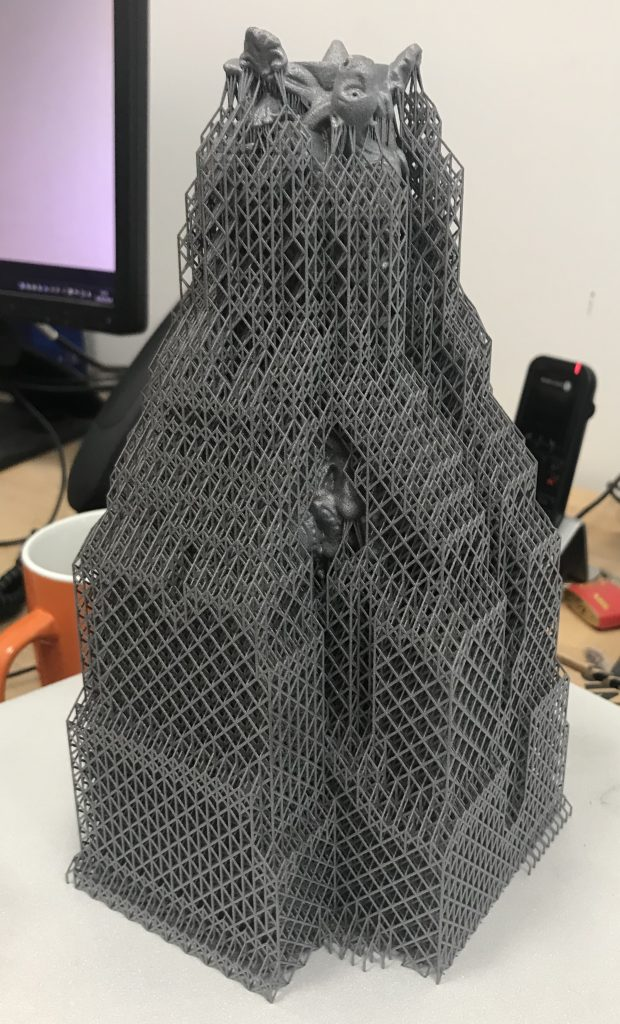 3D printed structure of candlestick. Photo via Renishaw.