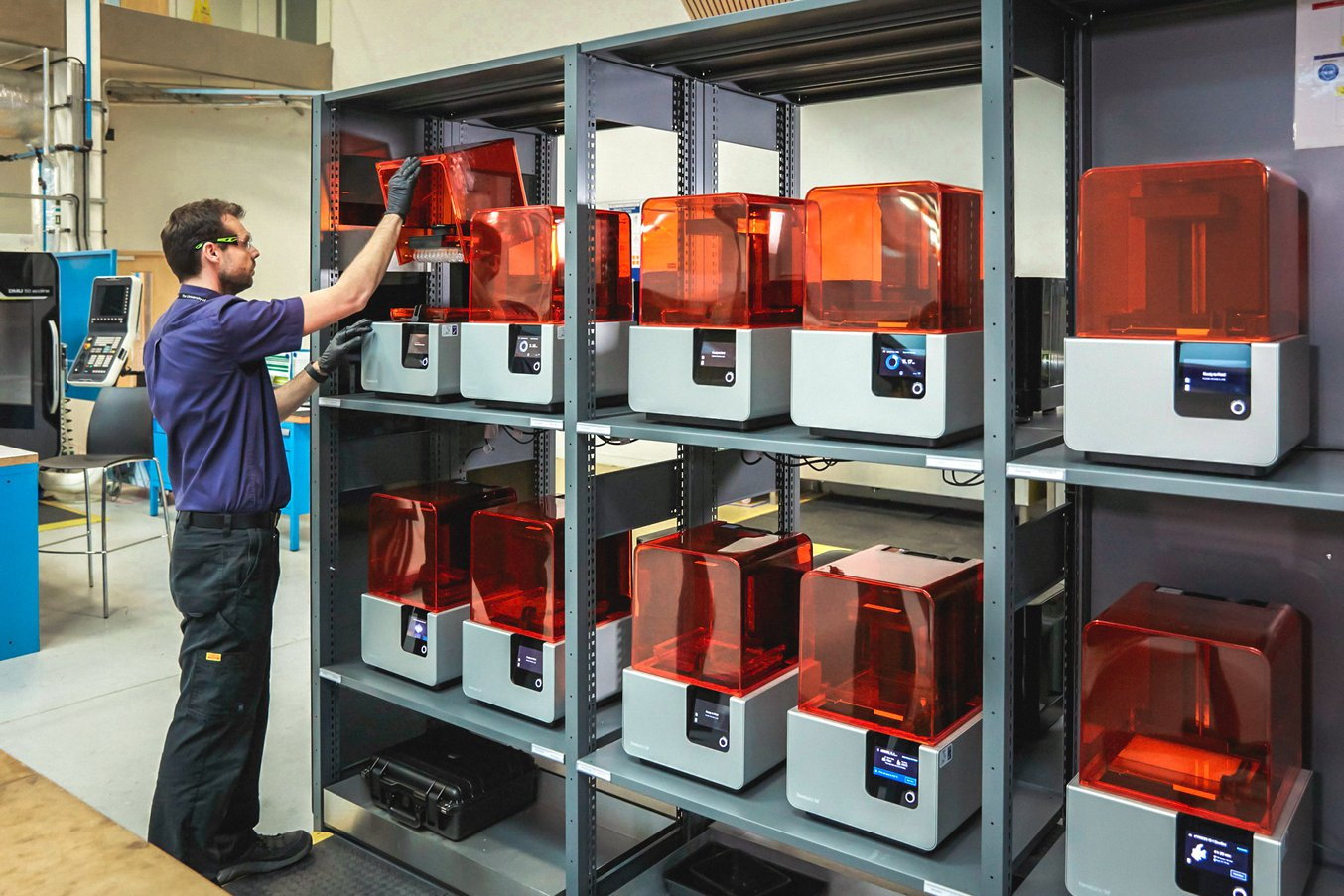 AMRC's printfarm of 12 Formlabs Form 2 3D printers. Photo via AMRC.