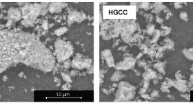 Electron micrographs of low-grade (left) and high-grade (right) calcined clay. Image via TU Delft.
