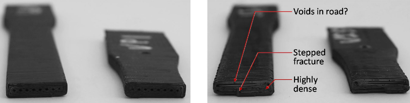 Failure surfaces of FFF parts (left) and injection printed parts (right). Photos via UMass.