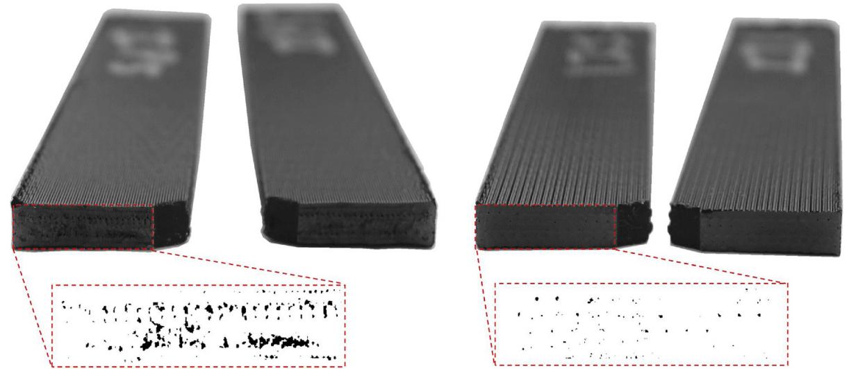 Failure surfaces of FFF-printed impact specimen (left) and injection printed impact specimen (right). Photo via UMass.