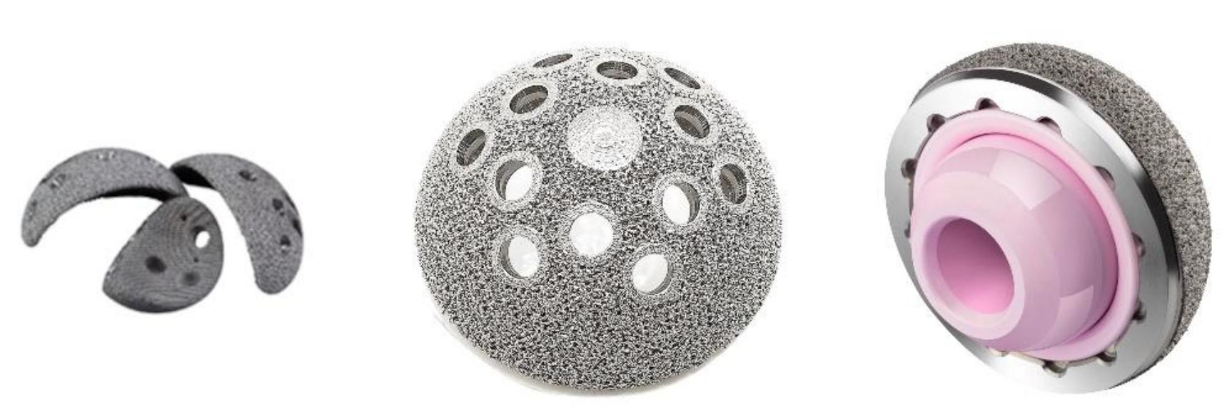 Implants 3D printed using the EBM Q10plus. Photo via GE.