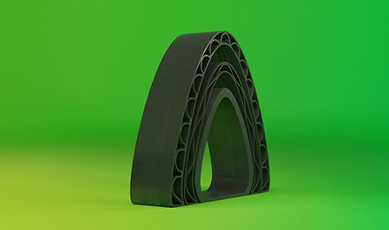 Part 3D printed using the company's previously released glass-reinforced PET pellet material. Photo via DSM.