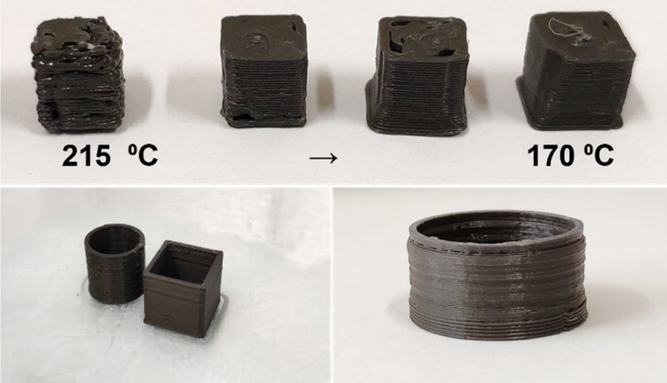 Print tests with the final magnetic composite filament. Photos via University of Seville.