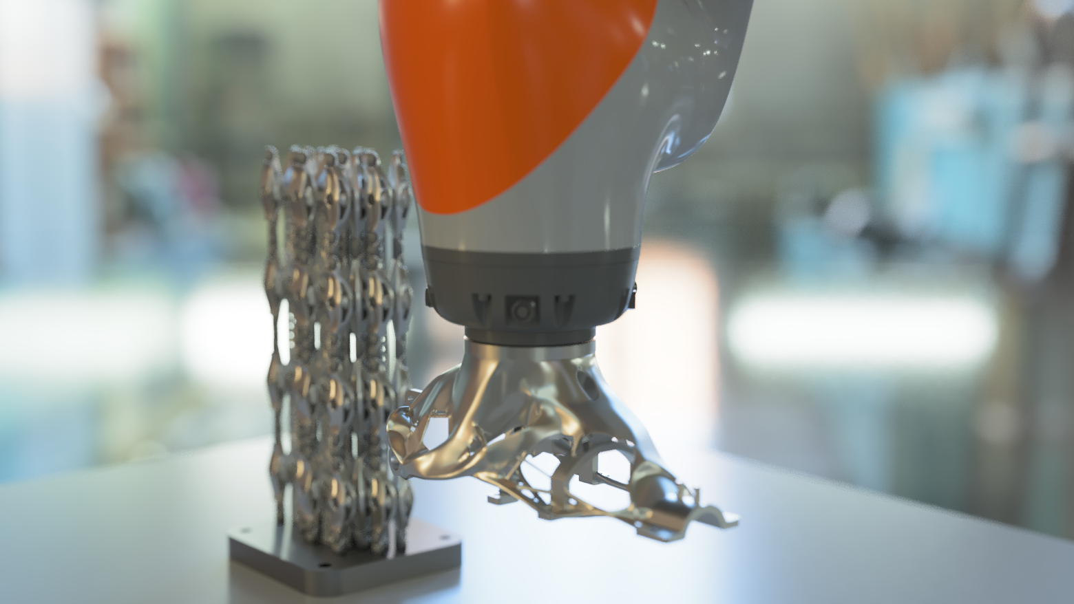 Additive Automations' cobot detecting and removing support structures. Photo via Renishaw.