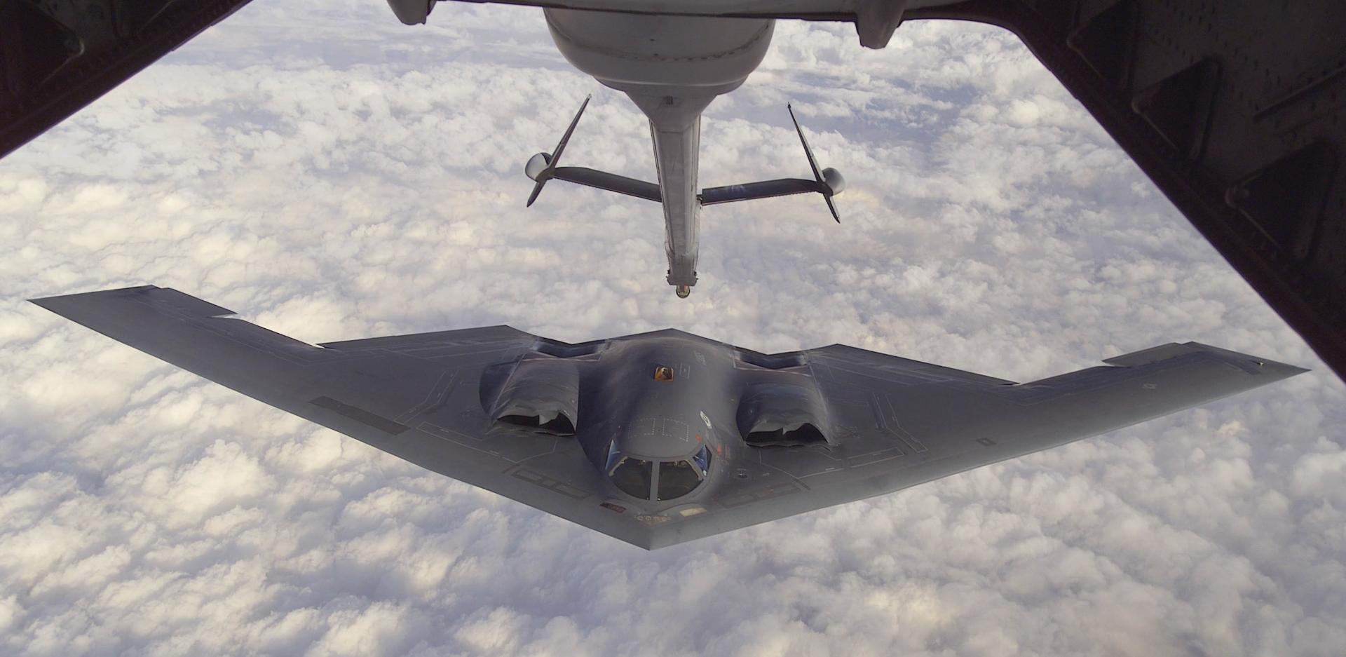 The B-2 during a mid-air refuel. Photo via U.S. Air Force.