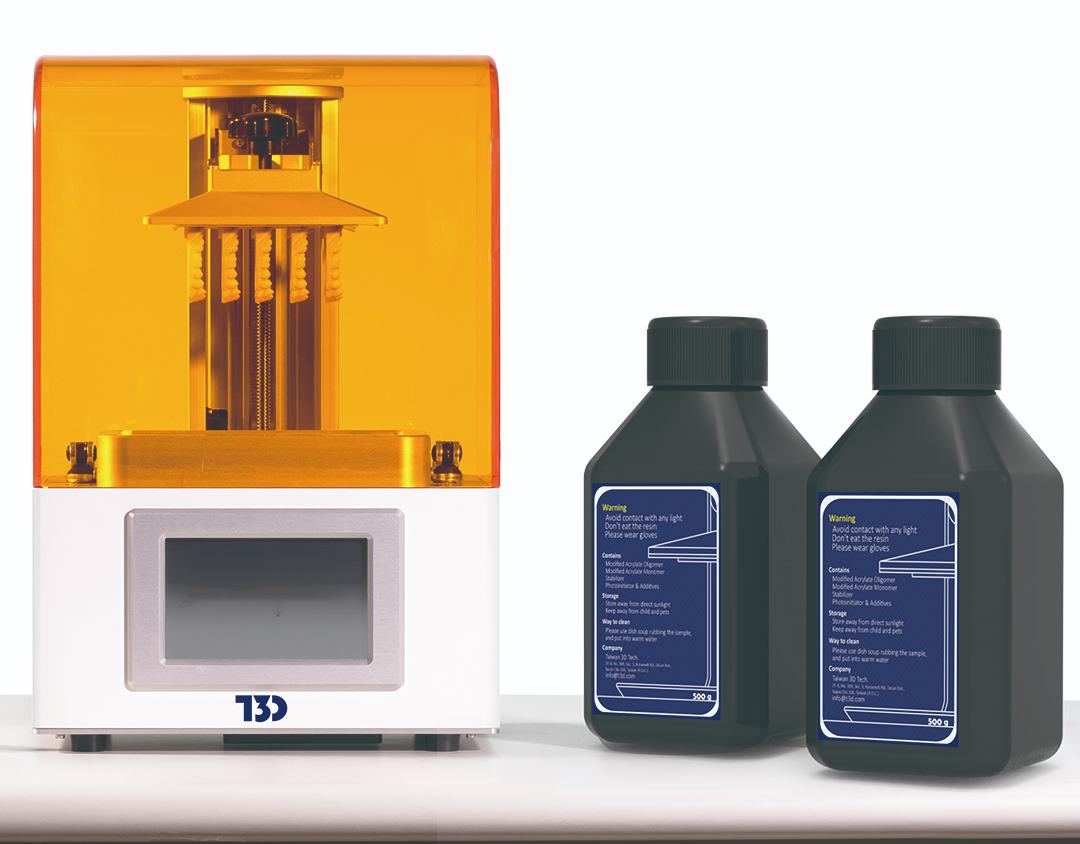 The High Speed 3D printer and T3D's resin. Photo via T3D.