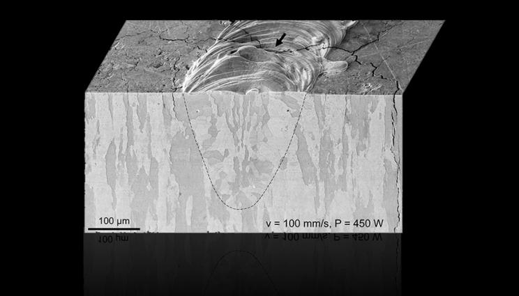 Testing revealed that residual stress and strain rate had an impact on the cracking seen in tungsten parts. Image via LLNL.