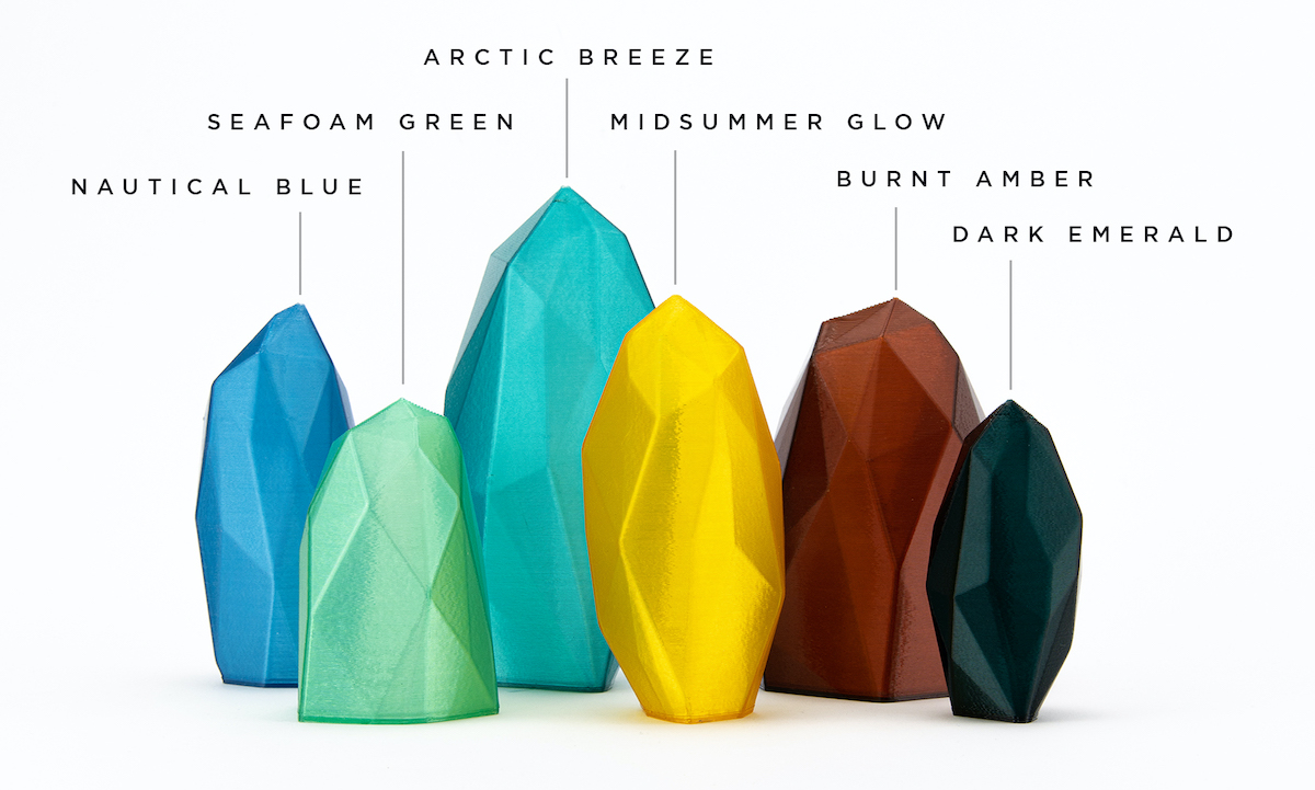 Reflow has followed an environmental theme while naming its six new translucent filaments, by giving them names like Nautical Blue, Seafoam Green, Arctic Breeze, Midsummer Glow, Burnt Amber, and Dark Emerald. Photo via Reflow