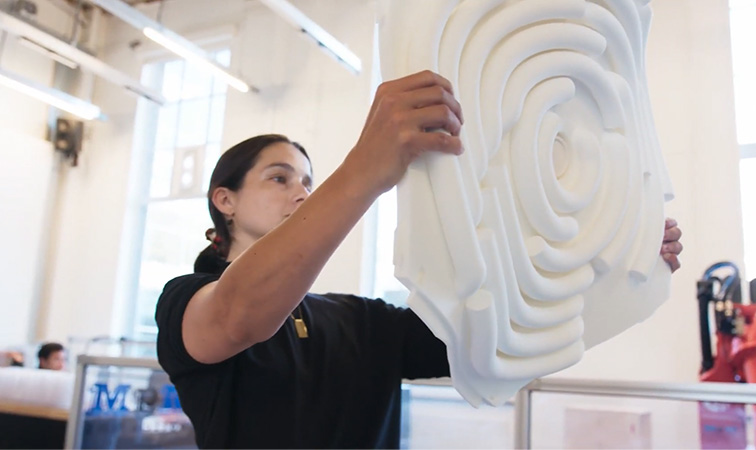 The researchers' 3D printed panels were custom-designed to absorb certain frequencies. Photo via TU Delft.