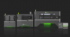 The InnoventPro (left) is an advanced entry-level metal 3d printer that rounds out ExOne's full family of production metal binder jetting systems, which includes the X1 25Pro (center), the X1 160Pro (far right), and the X1D1 automated guided vehicle for automated, Industry 4.0 transport. Image via ExOne.