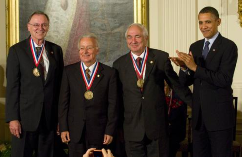 ROBOZE has appointed Faggin, pictured second from the left receiving a medal from President Obama, to its advisory board. Photo via the NST Medals Foundation.