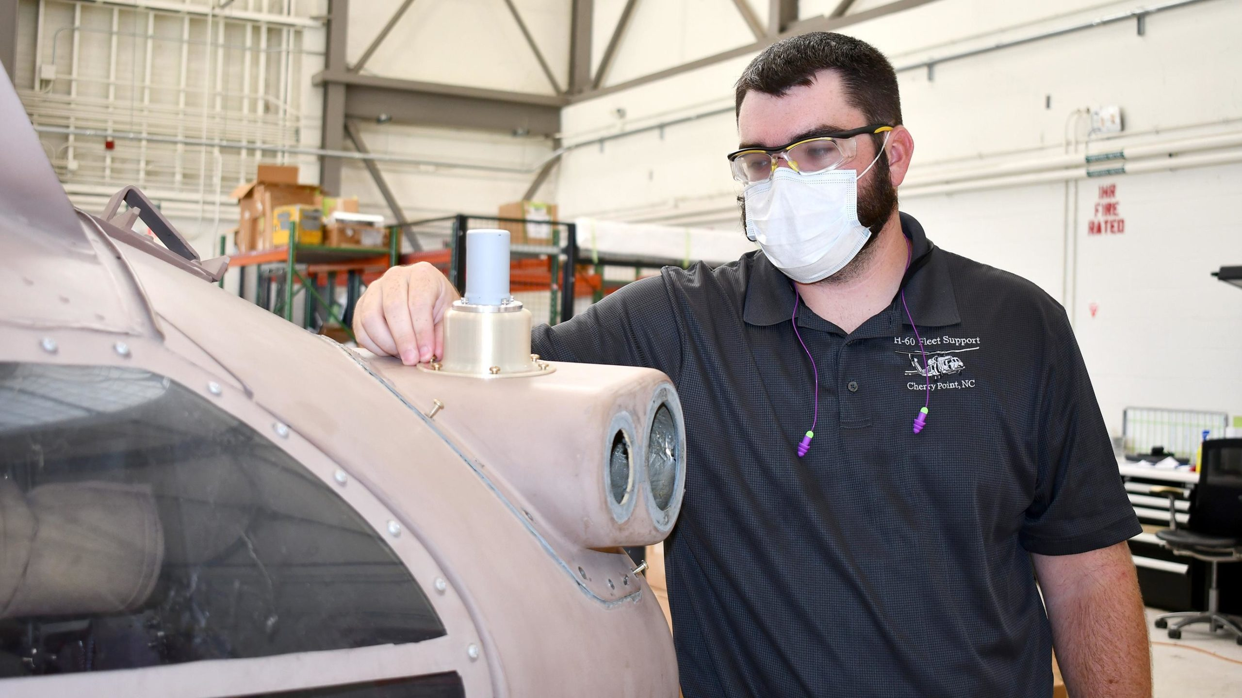 Engineer Tommy Stokes is a part of the structures engineering team working on the project. Photo via NAVAIR.