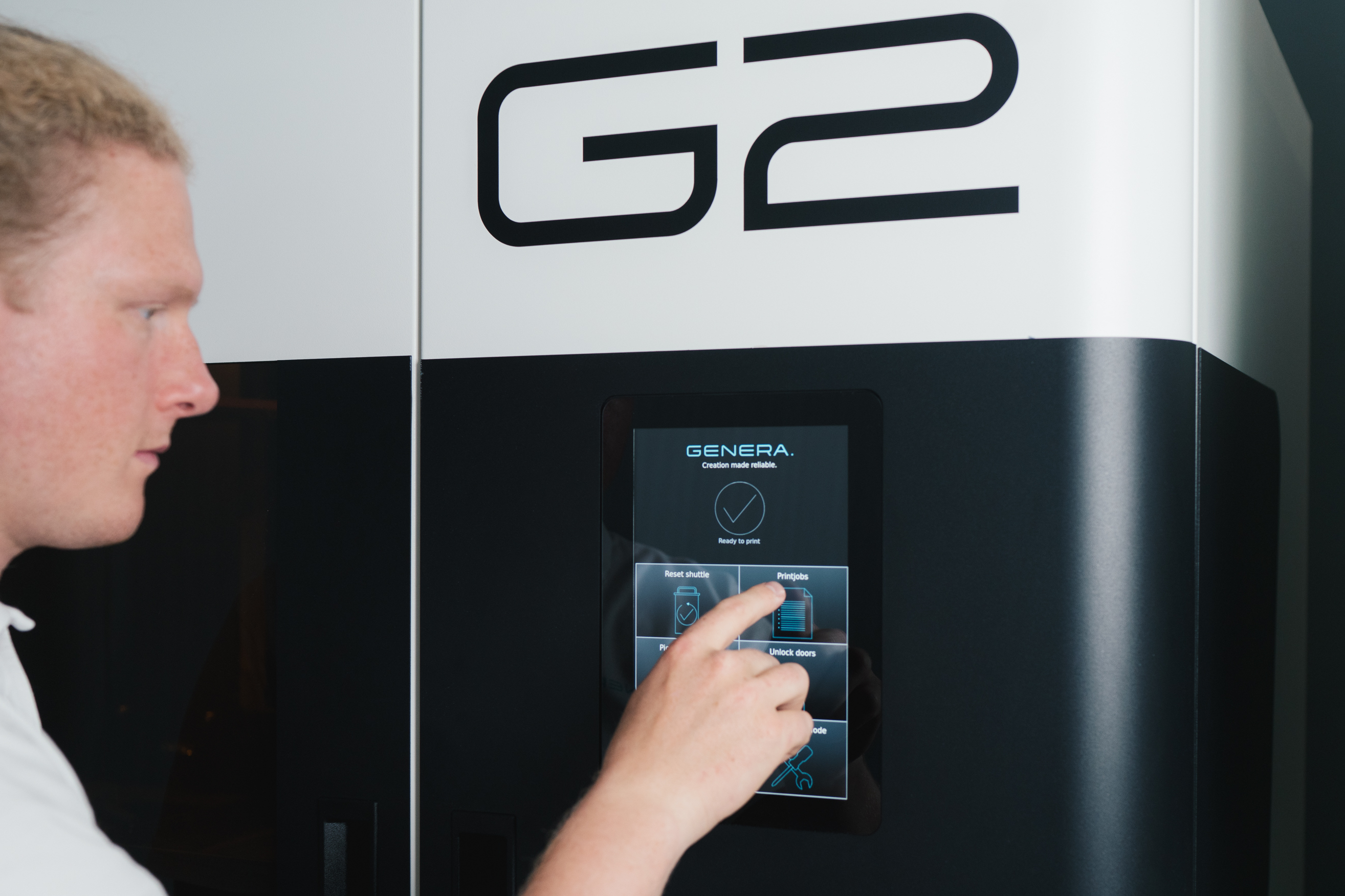 Genera's G2 system (pictured) features adjustable 4K DLP technology, meaning that users can manually selection what level of accuracy they will need for a printed part. Image via Genera.