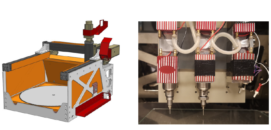 The research team built a custom triple extruder 3D printer (pictured) in order to fabricate their chocolate samples. Photo via the Food Quality and Preference journal.