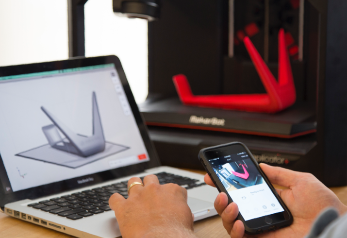 The researchers make the case that mobiles and laptops could be used in future to track and trace people via their printed objects. Image via Makerbot.
