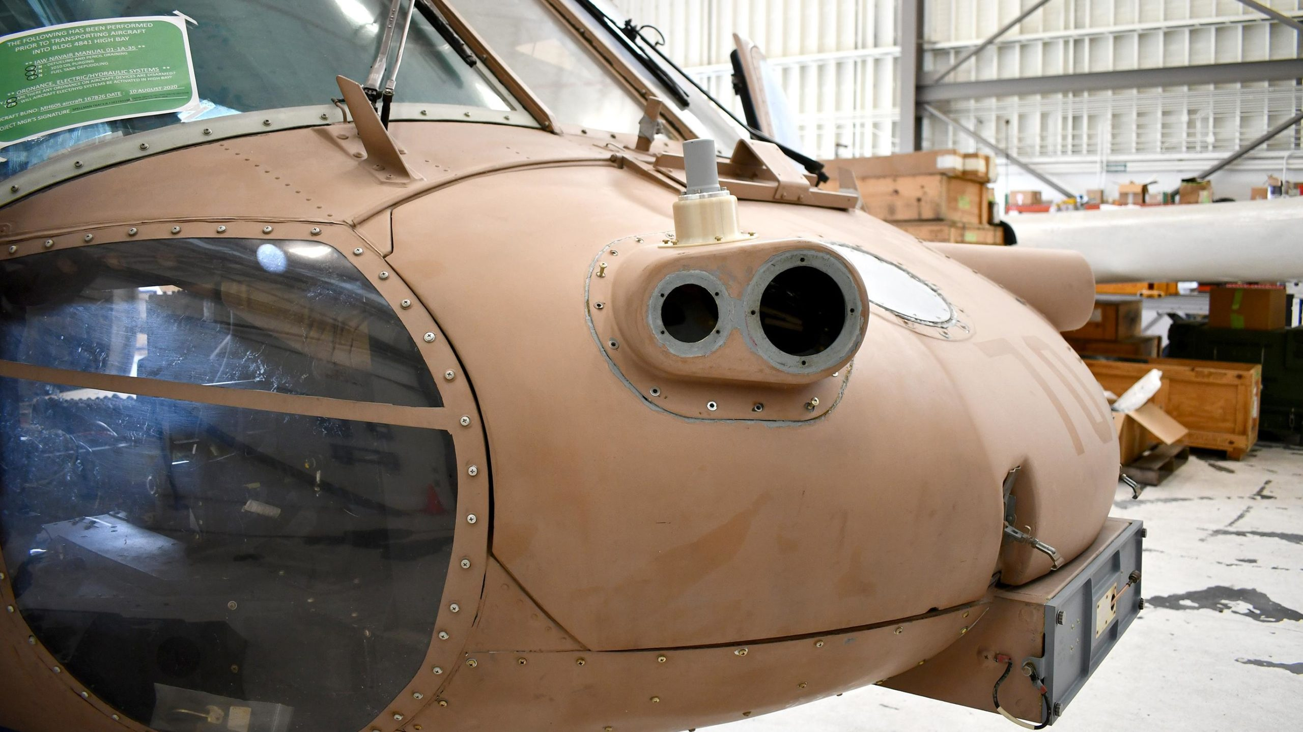 One of the early prototypes of the 3D printed antenna mount. Photo via NAVAIR.