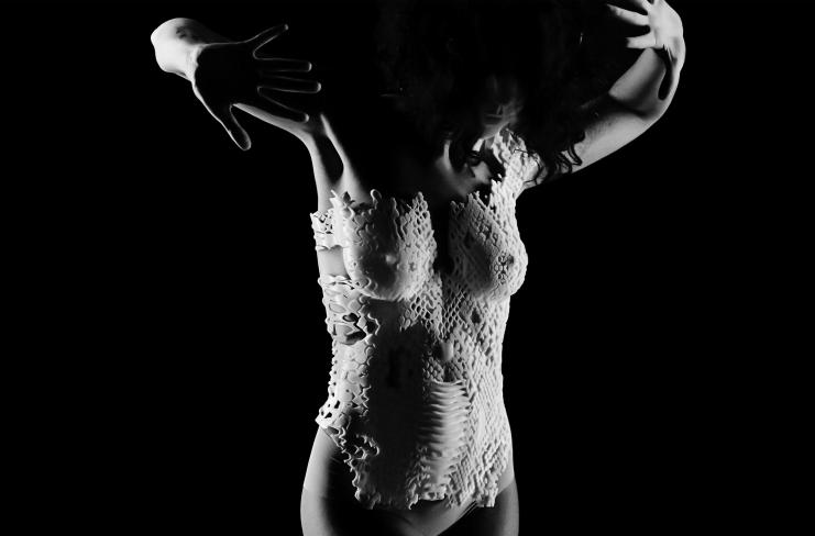 Designer Maria-Thala Al Aswad has designed and 3D printed a reptile-inspired corset (pictured). Photo via Maria-Thala Al Aswad.