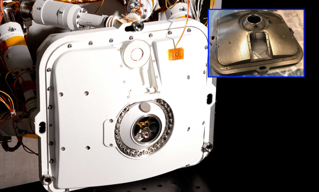 NASA's Perseverance rover features a PIXL X-ray device with a 3D printed outer shell (pictured). Photo via NASA.
