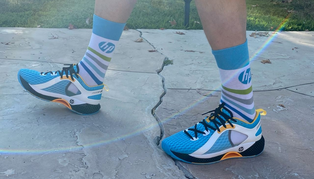 Senior Executive Edward Ponomarev showed off the company's latest prototype 3D printed running shoes in a recent LinkedIn post. Image via LinkedIn.