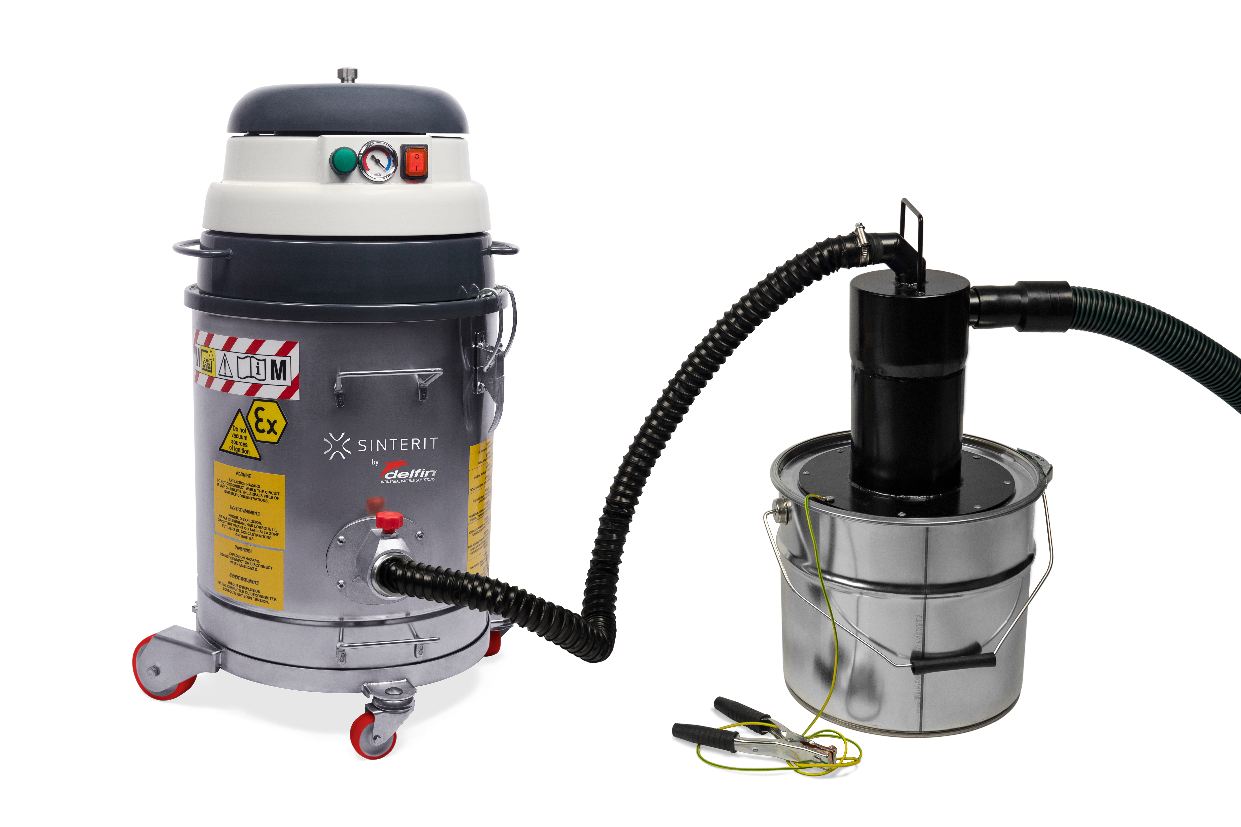 Sinterit's ATEX Vacuum Cleaner (pictured), features a powder separator which picks up and segregates unsintered powder from the print bed. Image via Sinterit.