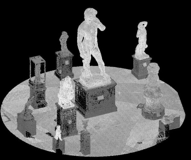 Dense point cloud of the David. Image via Victoria and Albert Museum.