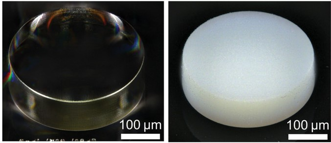 The novel photoresist before (left) and after (right) printing. Photo via KIT