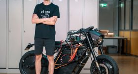 Tobias Oesch and the electric motorcycle. Photo via ETH Zurich.