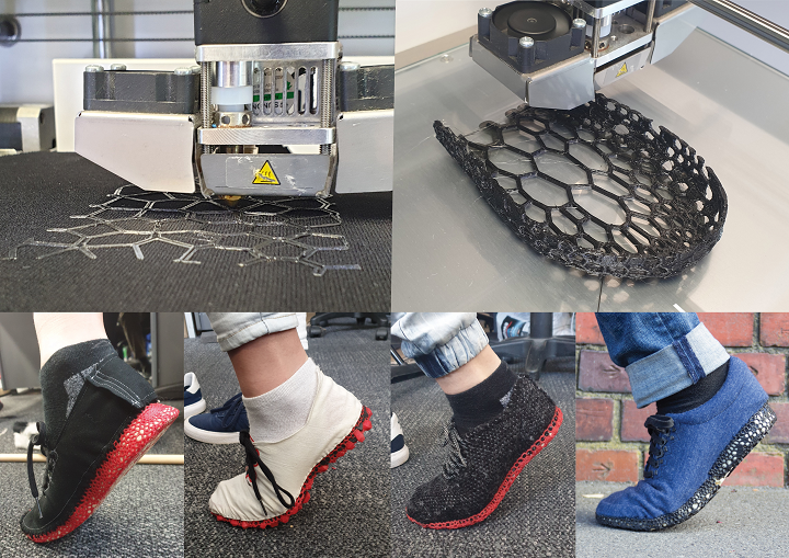 Rik Olthuis' sneaker test models with voronoi patters. Photo via James Dyson Awards.