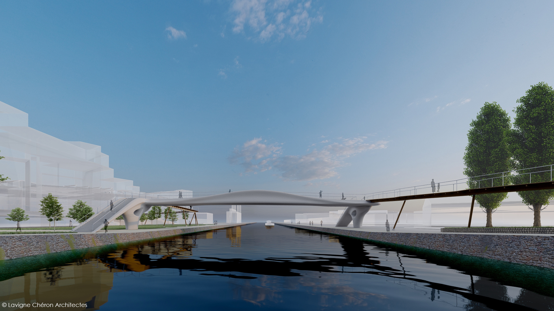 A render of the footbridge, which will use 60% less concrete than conventional structures. Image via XtreeE.