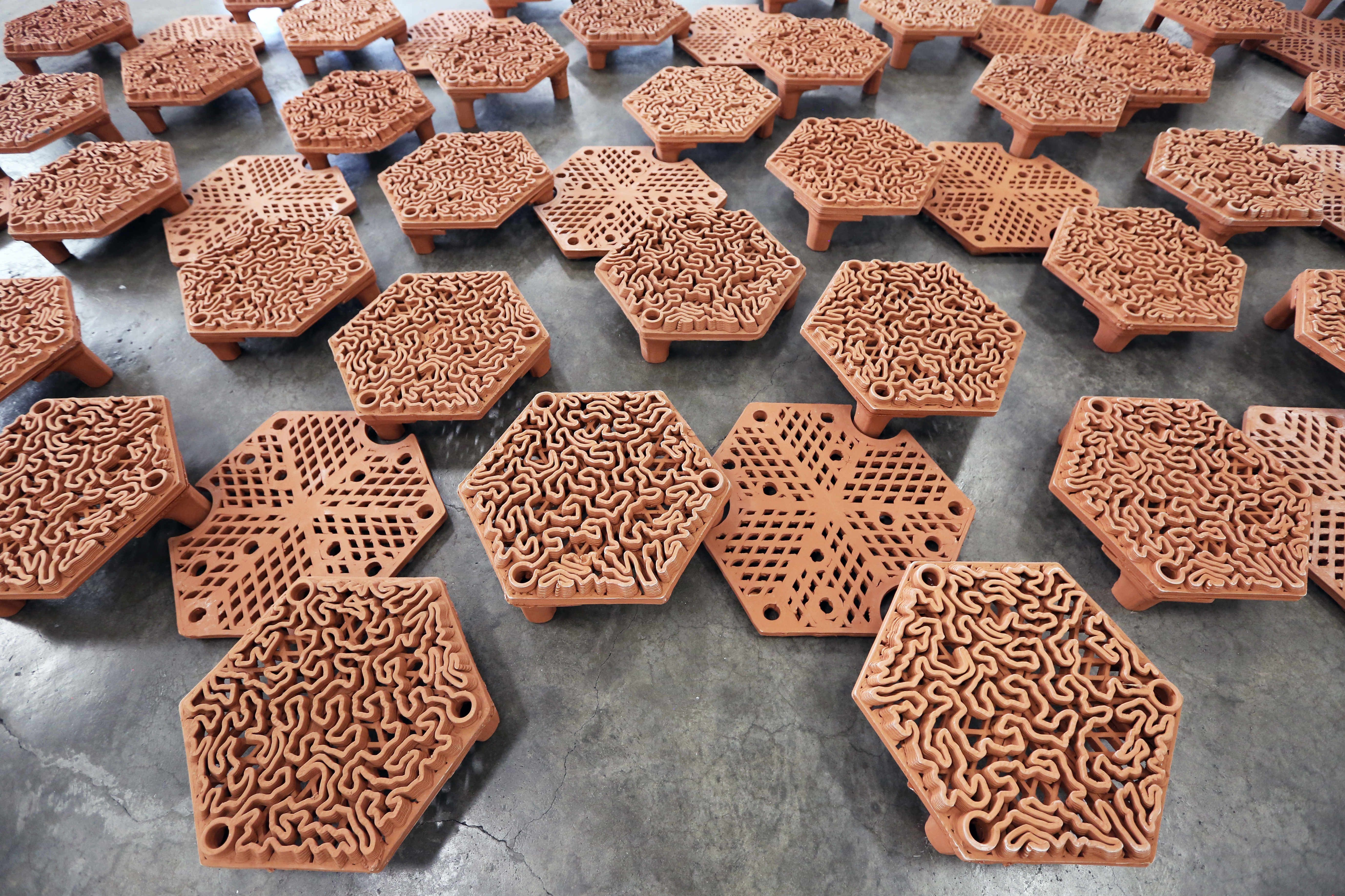 Three different types of 3D printed tiles used for coral attachment. Photo via Hong Kong University.