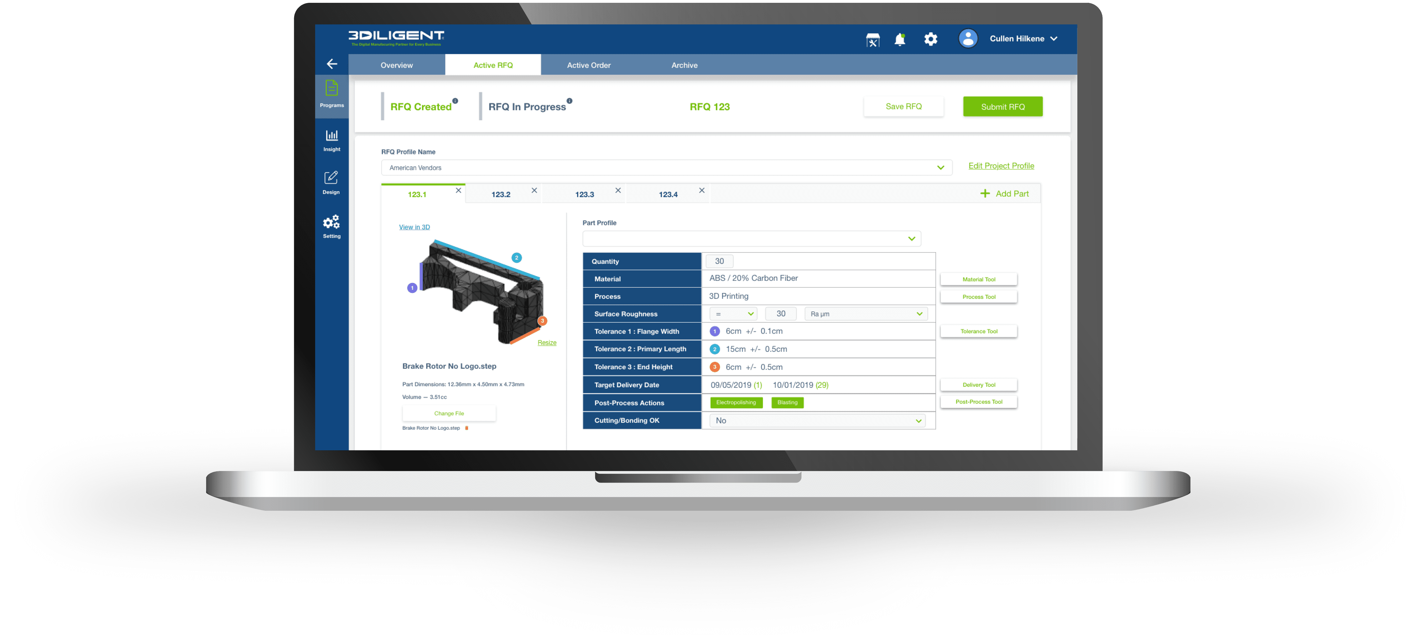 ProdEX connects engineers and buyers seekingcustom parts on-demand with manufacturers from around the world. Image via 3Diligent.