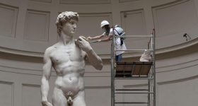 The 17 ft. tall David being restored in the Museo Dell'Accademia, Florence. Photo via ANSA.