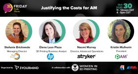 The panel includes Stefanie Brickwede of Mobility goes Additive, Elena Laso Plaza from HP, Naomi Murray of STRYKER, and AM-Cubed's Kristin Mulherin, discussing AM profitability.