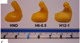 (A) 3D scan model of the hearing aid; DLP 3D printed hearing aids using (B) ENG hard resin and (C) Flexible resin. Image via ScienceDirect.