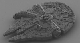Featured image shows the team's nanoscale model of a Millennium Falcon that it used to test its novel 2PP process. Image via Microlight 3D.