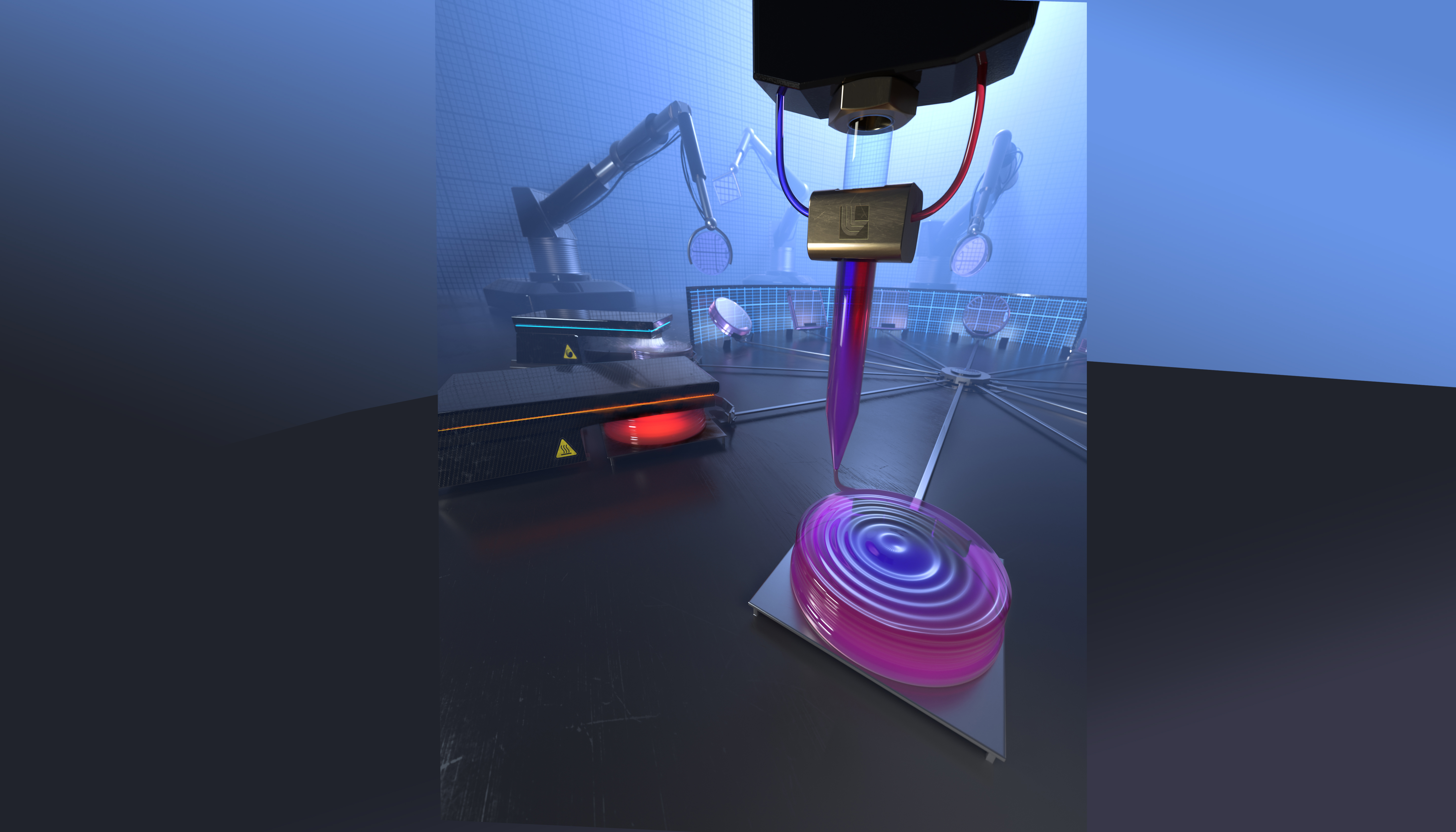 Artistic rendering of an aspirational future automated production process for custom GRIN optics, showing multi-material 3D printing of a tailored composition optic preform. Image via Jacob Long and Brian Chavez.