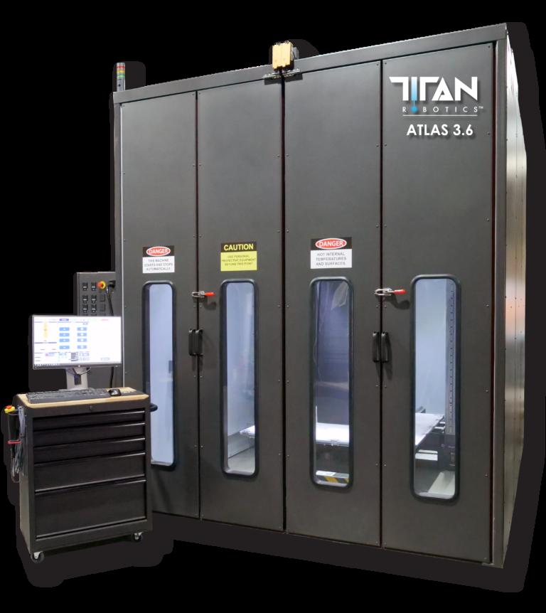 The Atlas 3.6 pellet extrusion 3D printing system. Image via Titan Robotics.